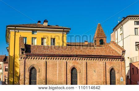 Buildings on Piazza della Repubblica in Ferrara - Italy poster