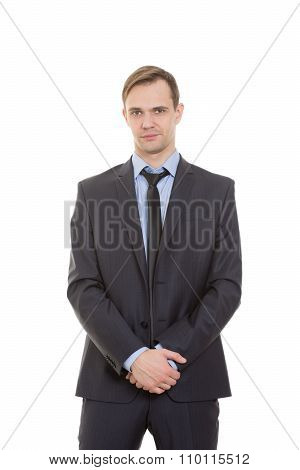 body language. man in business suit isolated white background. gestures of arms and hands. hands as