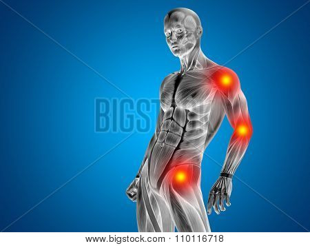 Conceptual 3D human man anatomy upper body or health design, joint or articular pain, ache or injury on blue background poster