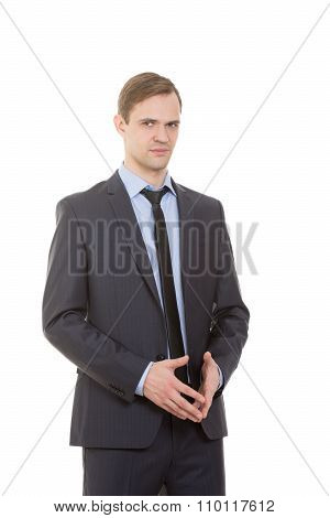 body language. man in business suit isolated white background. gestures of arms and hands. spire han