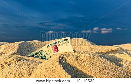 Russian  Rubles Is On A Sand