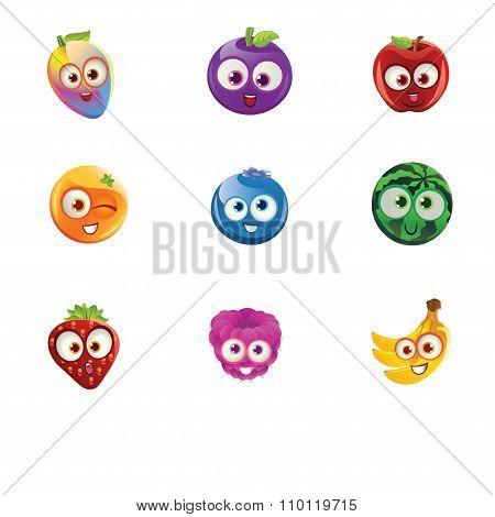Fruit Faces - Rainbow Mango, Plum, Apple, Orange, Blueberry, Watermelon, Raspberry, Strawberry and B