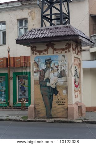 Odessa Ukraine - August 23 2015: Graffiti with the image of the literary hero to support power lines