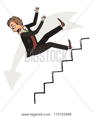 Man stumbled and fell down the stairs