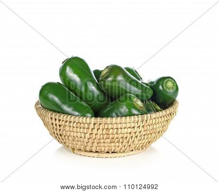 Jalapenos Chili Peppers In Basket On White Background