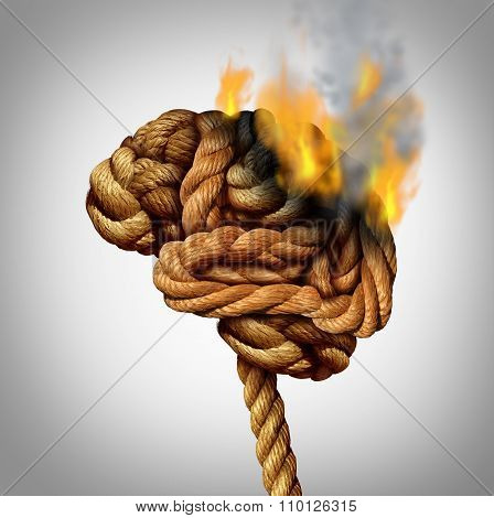 Losing brain function and memory loss due to dementia and Alzheimer's disease with the medical icon of a tangled rope shaped as a human thinking organ losing functionality by flames and fire burning part of the anatomy. poster