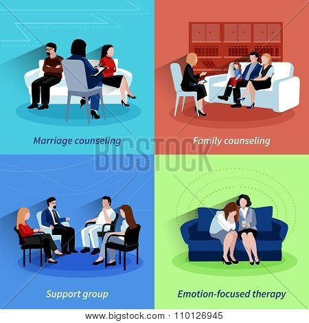 Relationship counseling 4 flat icons quare