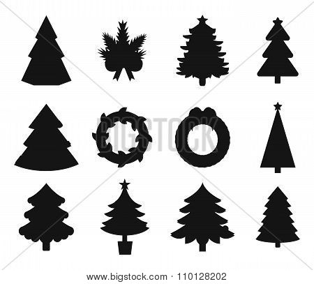 Christmas tree black icons set