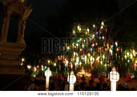 Tourist Travel To See Colorful Paper Lantern And Monk Ceremony In Yeepeng Festival