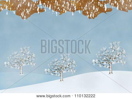 Misty Wintry Scene With Trees