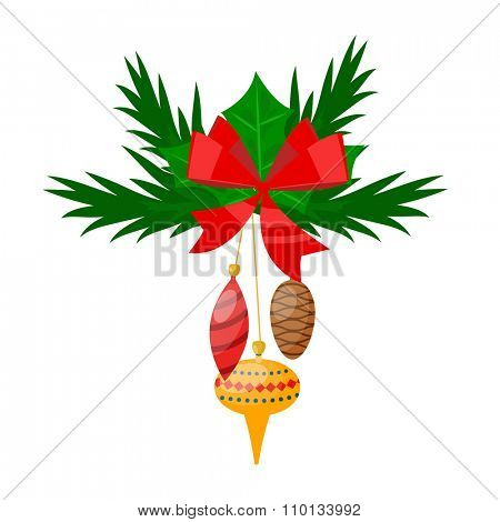 Christmas tree twig with toys flat design vactor icon isolated on white. Christmas twig tree. New Year tree twig. Christmas tree twig vector illustration. New Year tree twig silhouette. decoration