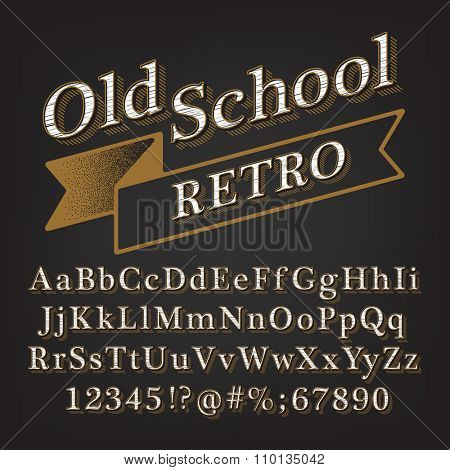 Old school Retro Vintage Style Alphabet with Lined Shadow. Type letters, numbers and punctuation marks. Vintage design vector font.
