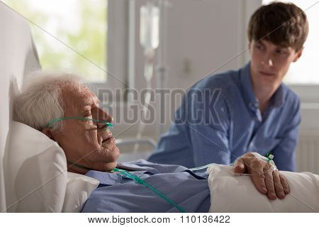 Sleeping Elderly Hospice Patient
