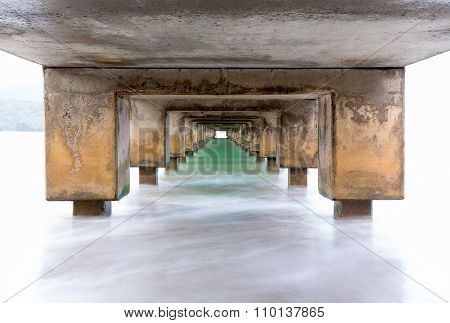 Underside Of Hanalei Pier Long Exposure