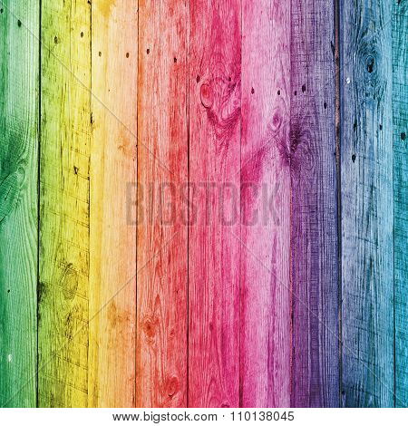 Rainbow Wooden Desk For Background
