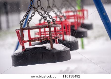Snow in playground