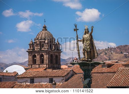 Inca Pachacutec fountain in the Plaza de Armas of Cusco Peru poster