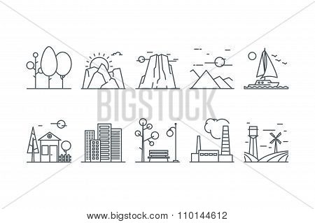 Landscape icons. Line art. Stock vector.