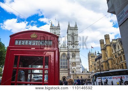 Tradition London Red Phone Booth On University Church Of St Peter Background