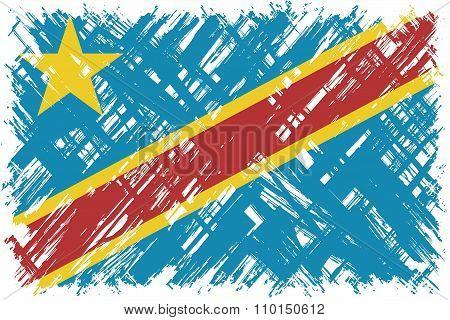 Congolese grunge flag. Vector illustration.