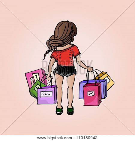 Illustration Beautiful Girl. Shopping. Purchases. Girl-student On Vacation.