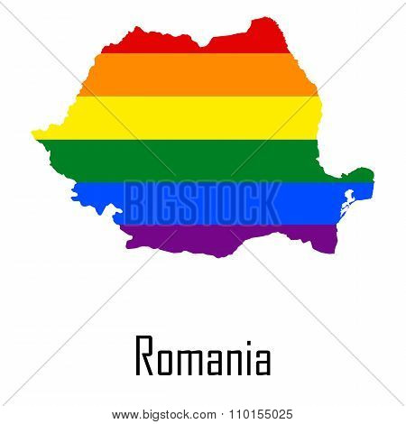 Vector rainbow map of Romania in colors of LGBT - lesbian gay bisexual and transgender - pride flag. In eps format. poster