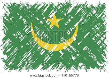 Mauritanian grunge flag. Vector illustration.