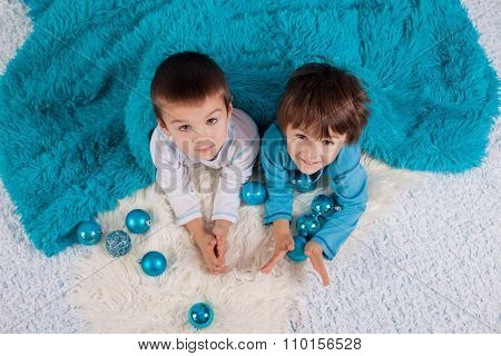 Adorable Children, Boy Brothers, Playing With Christmas Decoration