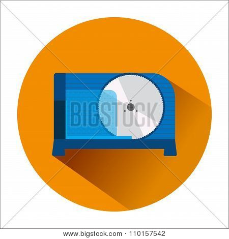 The Icon With The Image Of A Blue Slicer In Orange Circle