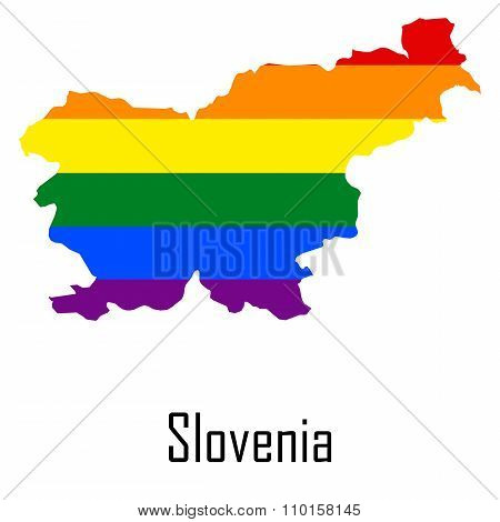 Vector Rainbow Map Of Slovenia In Colors Of Lgbt - Lesbian, Gay, Bisexual, And Transgender - Pride F