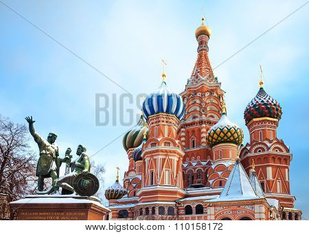 Saint Basil's Cathedral And  Monument To Minin And Pozharsky On Red Squaree