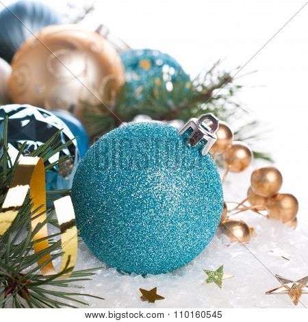 Christmas composition with blue ball