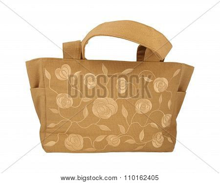 Silk-embroidered Beach Hand Bag. Clipping Path