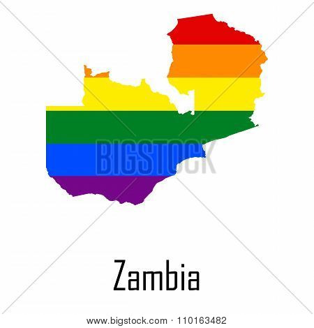 Vector Rainbow Map Of Zambia In Colors Of Lgbt - Lesbian, Gay, Bisexual, And Transgender - Pride Fla