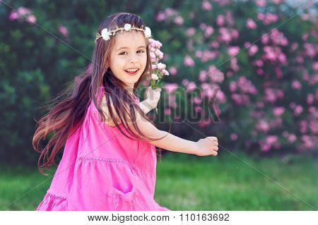 Adorable Toddler Girl Little Girl Having Fun Outdoors And Dancing Latin Dance