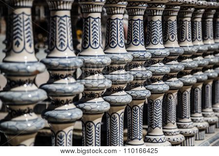 Ceramic Bridge inside Plaza de Espana in Seville Spain. poster