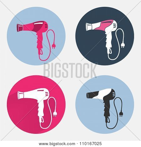 Hair-drier 4 set. Professional blow hairdryer with two-pin plug. Modern colored sign on dark grey. R
