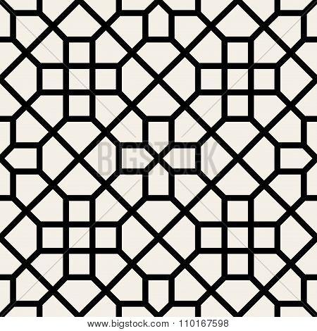 Vector Seamless Black And White Geometric Cross Pattern