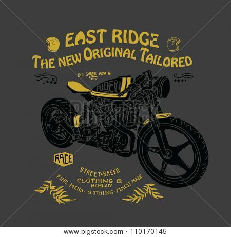 motorcycle illustration with type