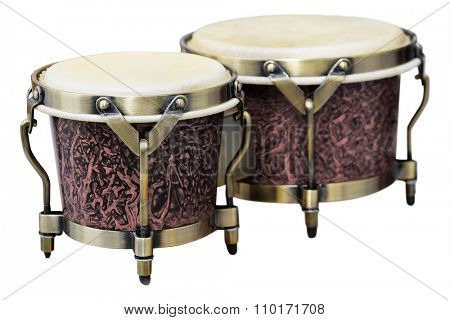 Latin percussion, Bongos isolate on white background poster