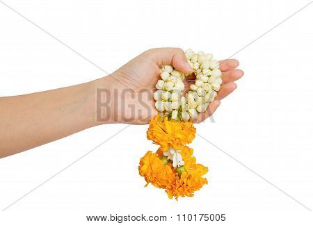 woman hand give a thai jasmine garland on white backgroundAbstract meaning congratulatory and felicitous