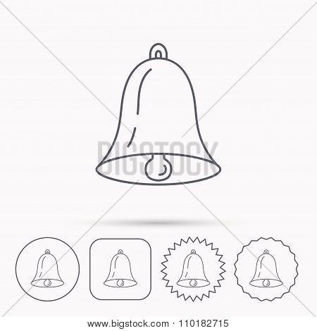 Bell icon. Sound handbell sign.