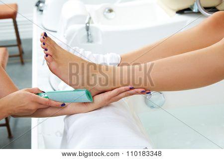 Pedicure dead skin remover foot rasp woman in nail salon