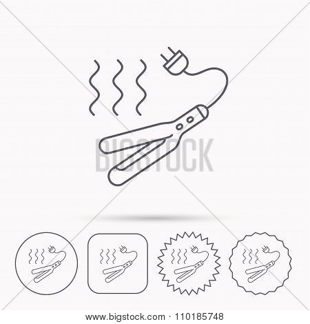 Curling iron icon. Hairstyle electric tool sign.