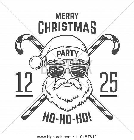 Santa Claus with hipster glasses and candy cones print design. Vintage disco insignia. Christmas old