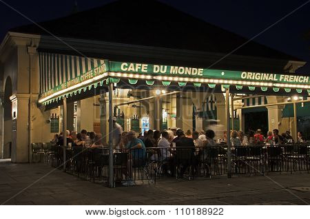 Famous Cafe Du Monde in New Orleans that sells popular pastry beignets.