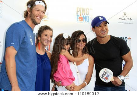 LOS ANGELES - JUL 30:  Clayton Kershaw, Ellen Kershaw, Gia Lopez, Courtney Mazza, Mario Lopez at the 3rd Annual Ping Pong 4 Purpose at the Dodger Stadium on July 30, 2015in Los Angeles, CA