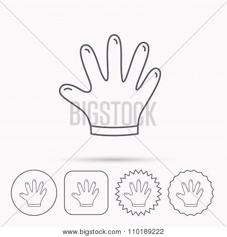 Rubber gloves icon. Latex hand protection sign. Housework cleaning equipment symbol. Linear circle, square and star buttons with icons. poster