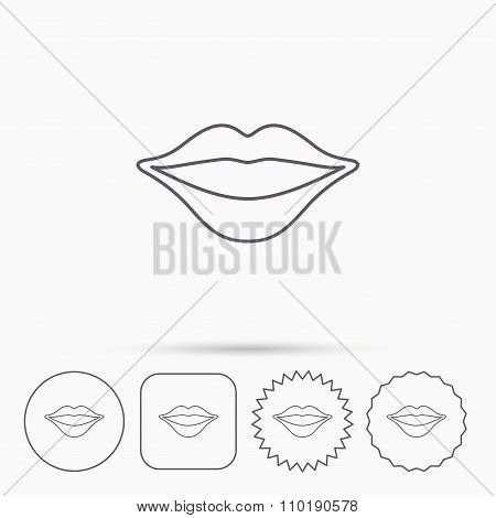 Lips icon. Smiling mouth sign.