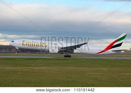 BUDAPEST, HUNGARY - DECEMBER 01: Emirates Boeing 777-300 taking off at Budapest Airport, December 1st 2015. This was the first ever Emirates flew the 777 to Budapest.